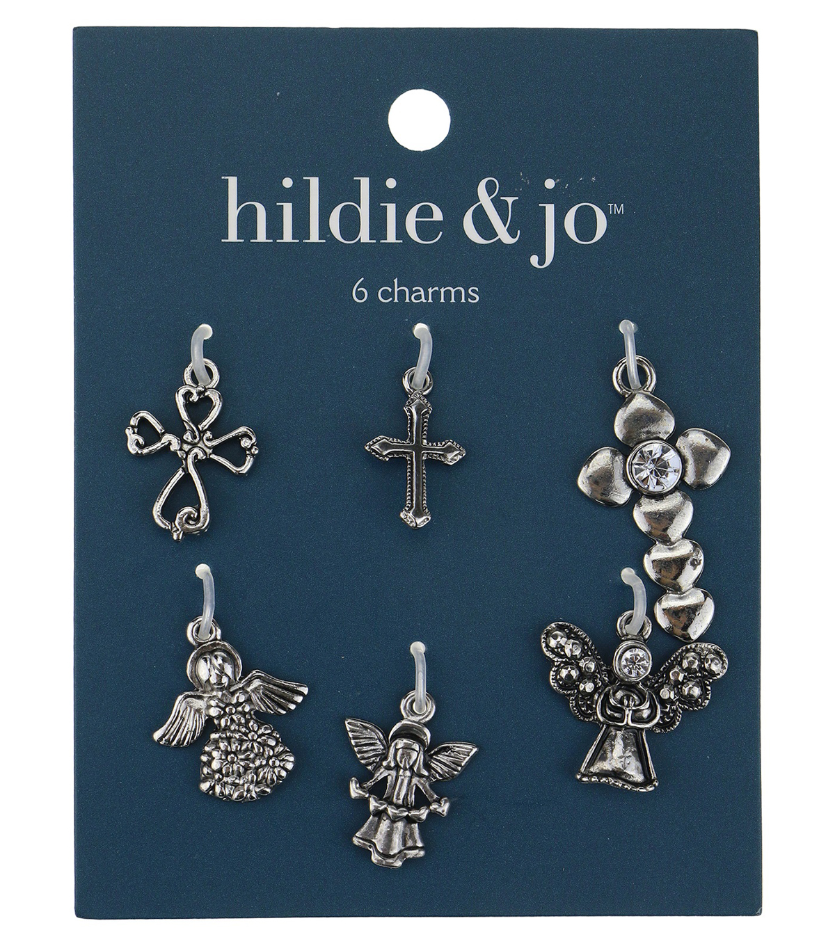 Blue Moon Beads 6 pk Cross & Angel Metal Charms-Assorted