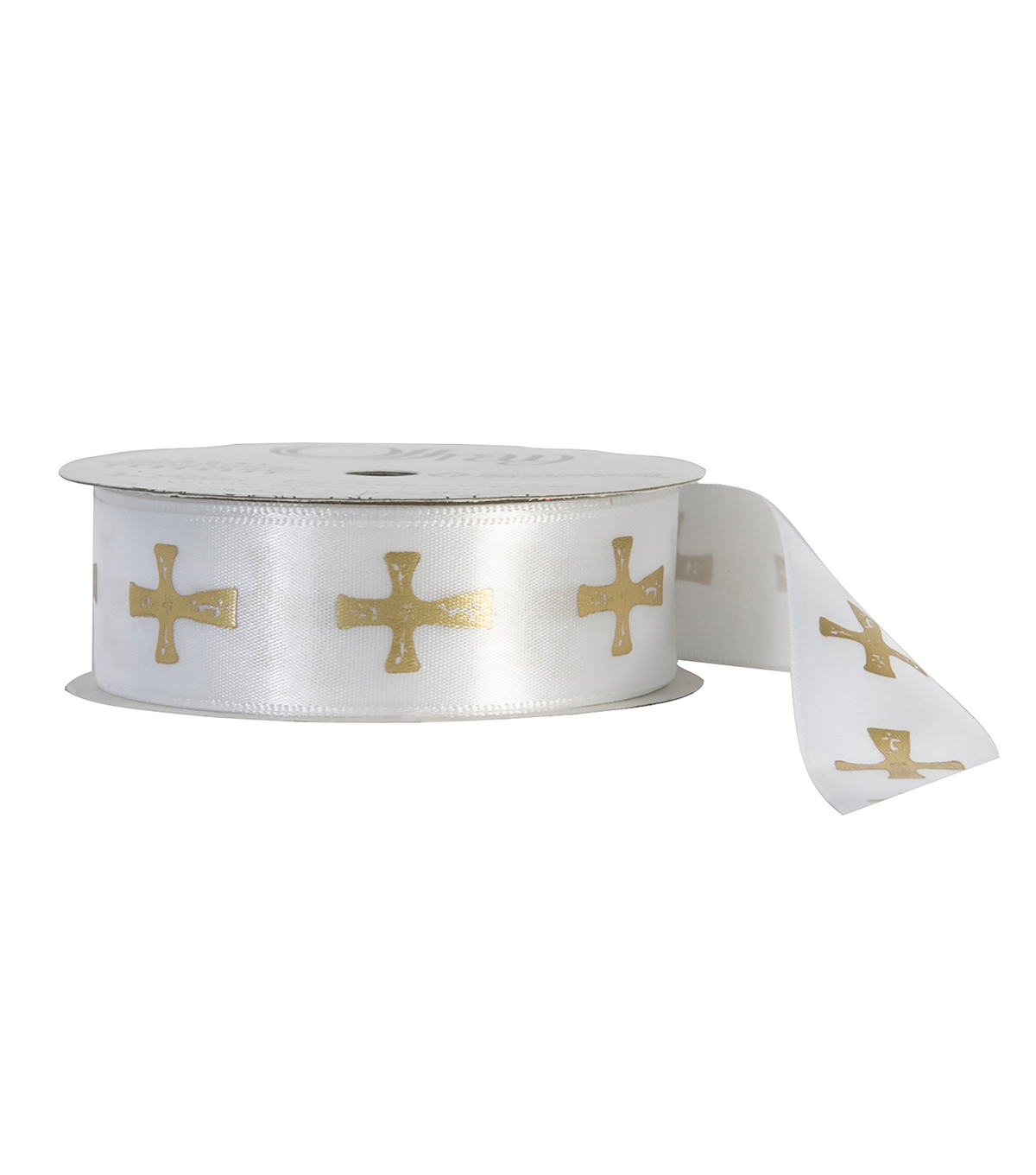 Offray 7/8\u0022x9\u0027 Cross Faith Single Faced Satin Ribbon-White and Gold