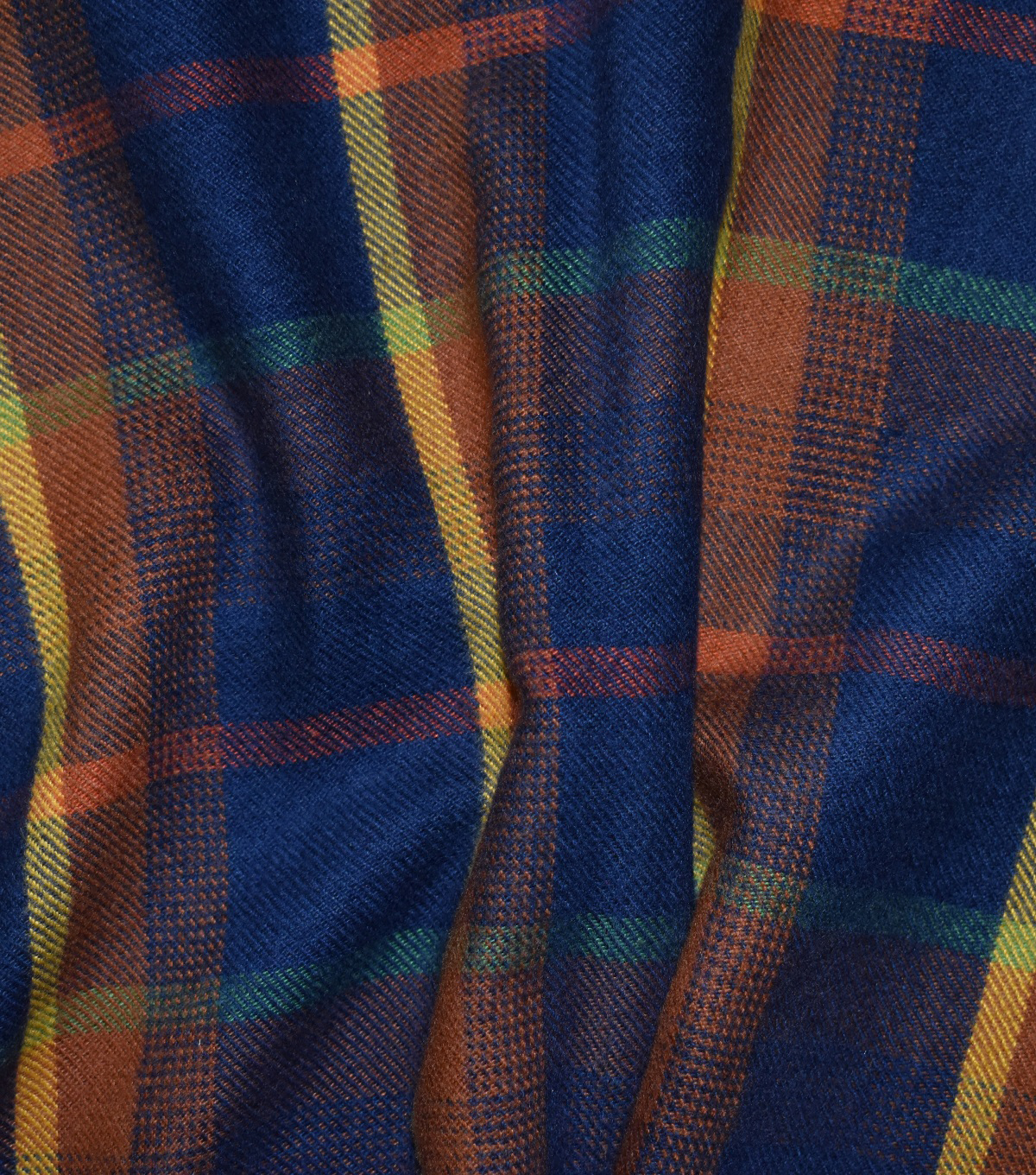 Perfectly Plaid Acrylic Fabric 55\u0022-Navy, Orange & Green
