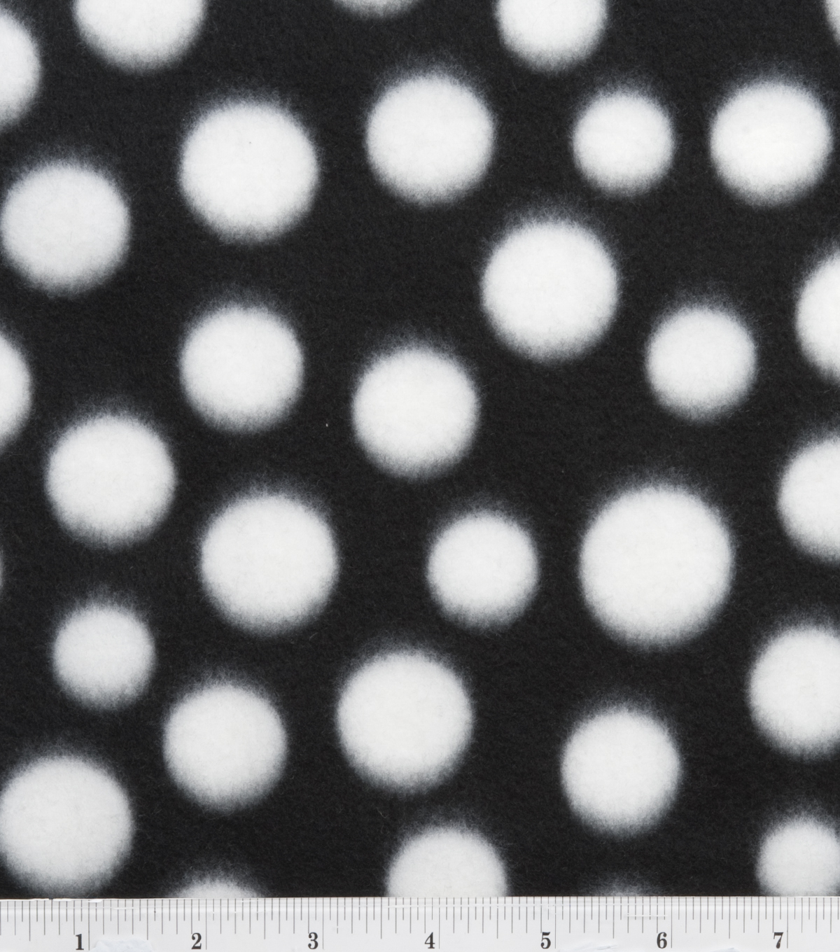 Blizzard Fleece Fabric -Black and White Dot