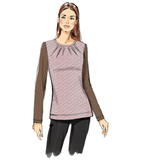Vogue Pattern V9205 Misses\u0027 Knit Tops with Inverted Neck Darts-Size 4-14