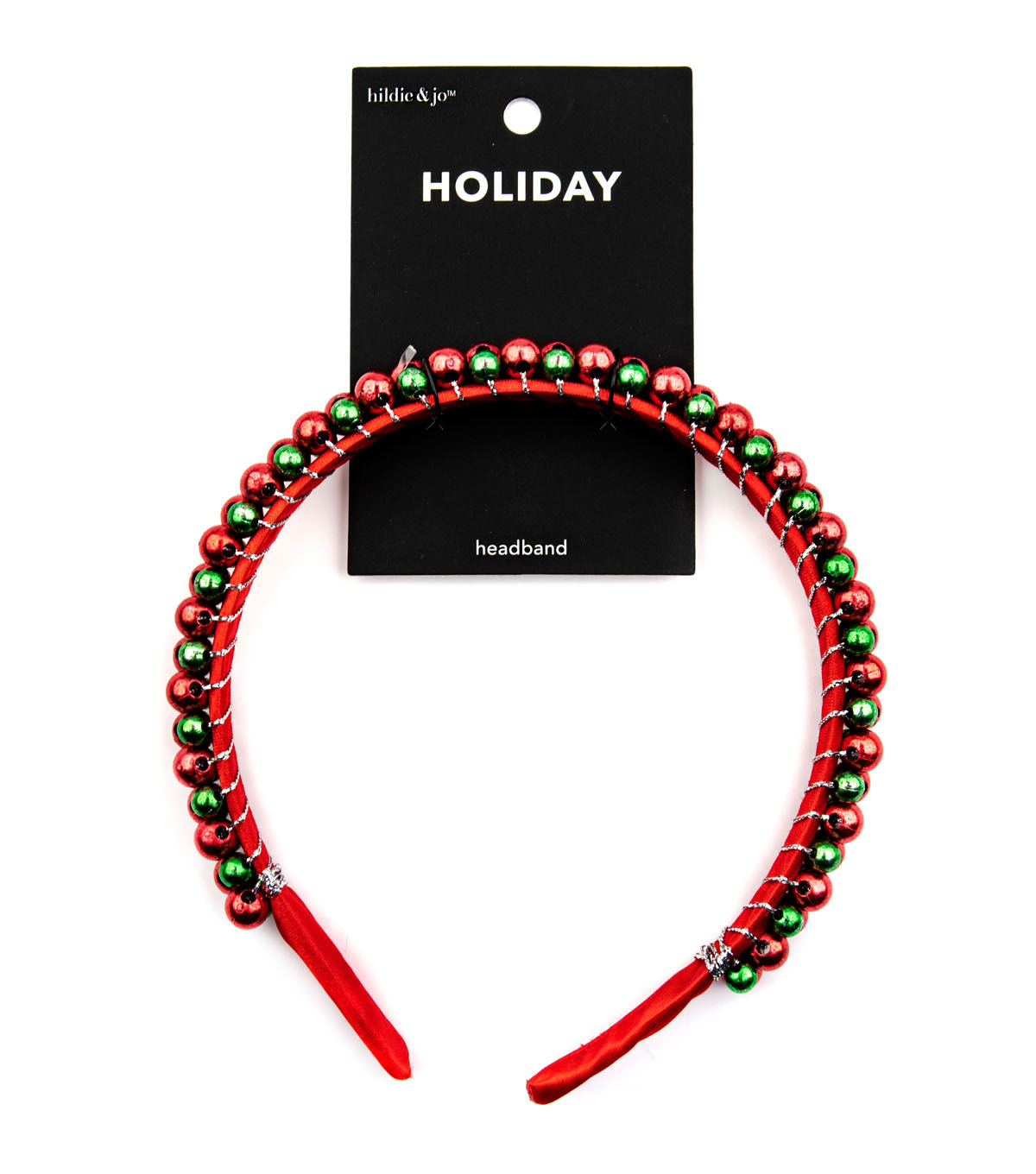 hildie & jo Holiday Headband-Red And Green Jingle Bell