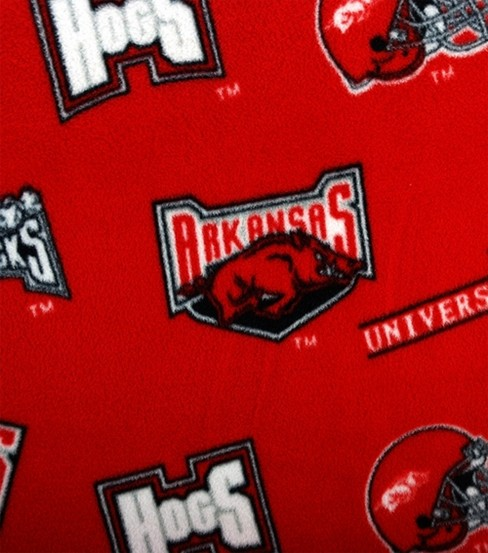 University of Arkansas Razorbacks Fleece Fabric -Allover Red