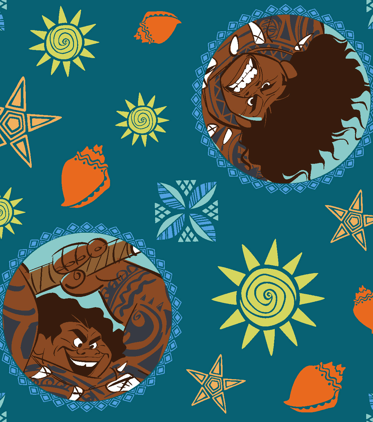 Disney Moana Fleece Fabric 59\u0022-Maze