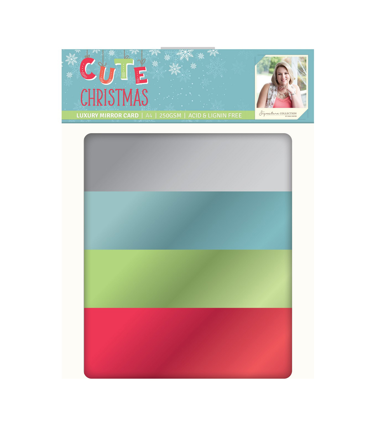 Sara Davies Signature Luxury Cardstock A4 28/Pkg-Cute Christmas-Mirror