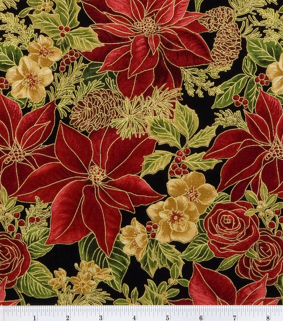 Holiday Inspirations Fabric Red Allover Poinsettia Joann
