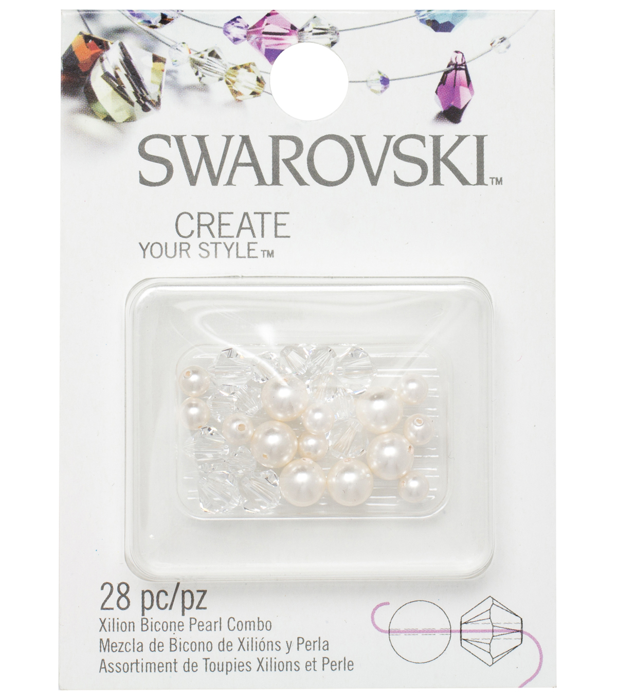 Create Your Style Swarovski Bicone Beads-Pearl Crystal White Mix 28/pk