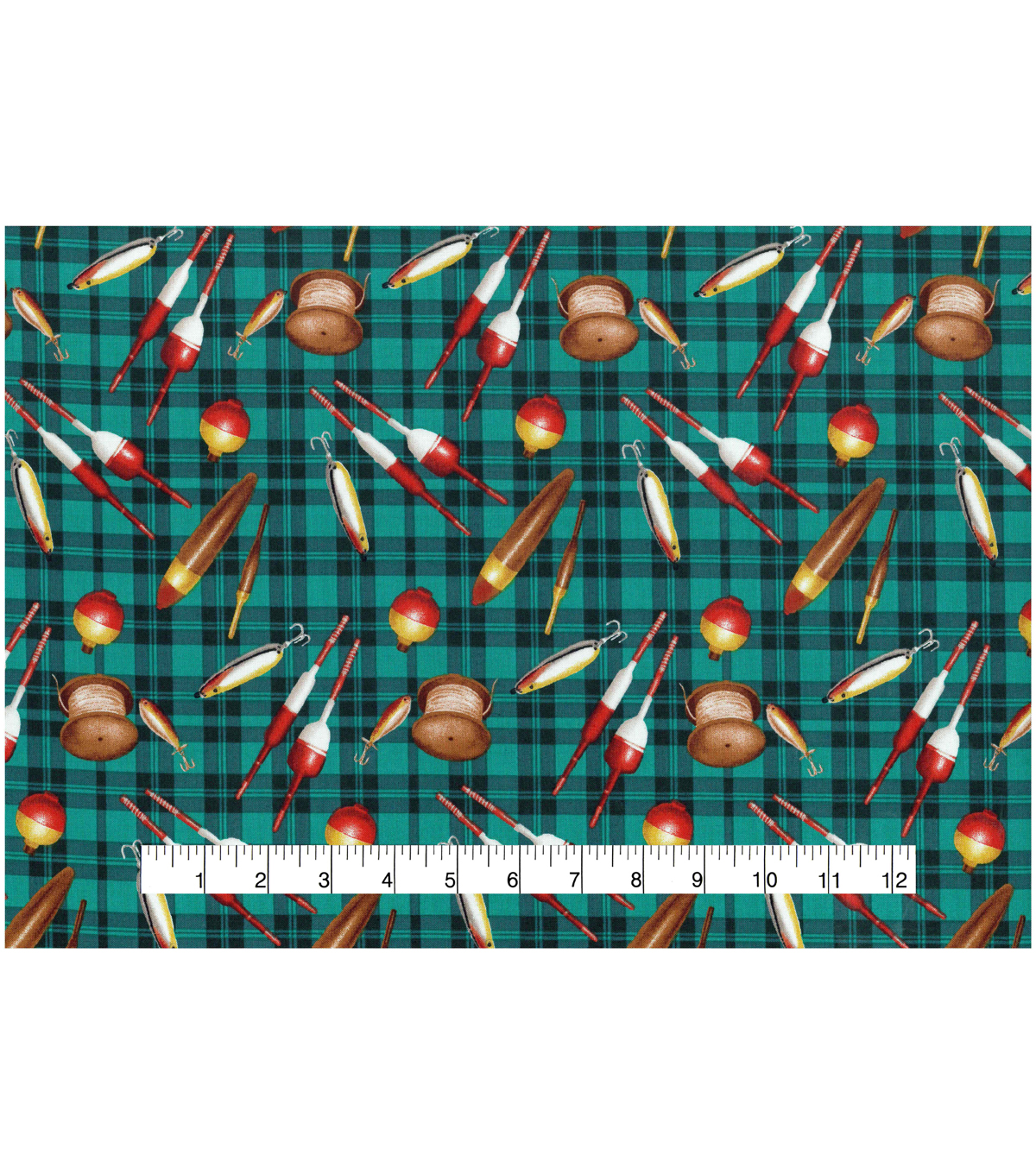 Novelty Cotton Fabric -Fishing Lures On Plaid