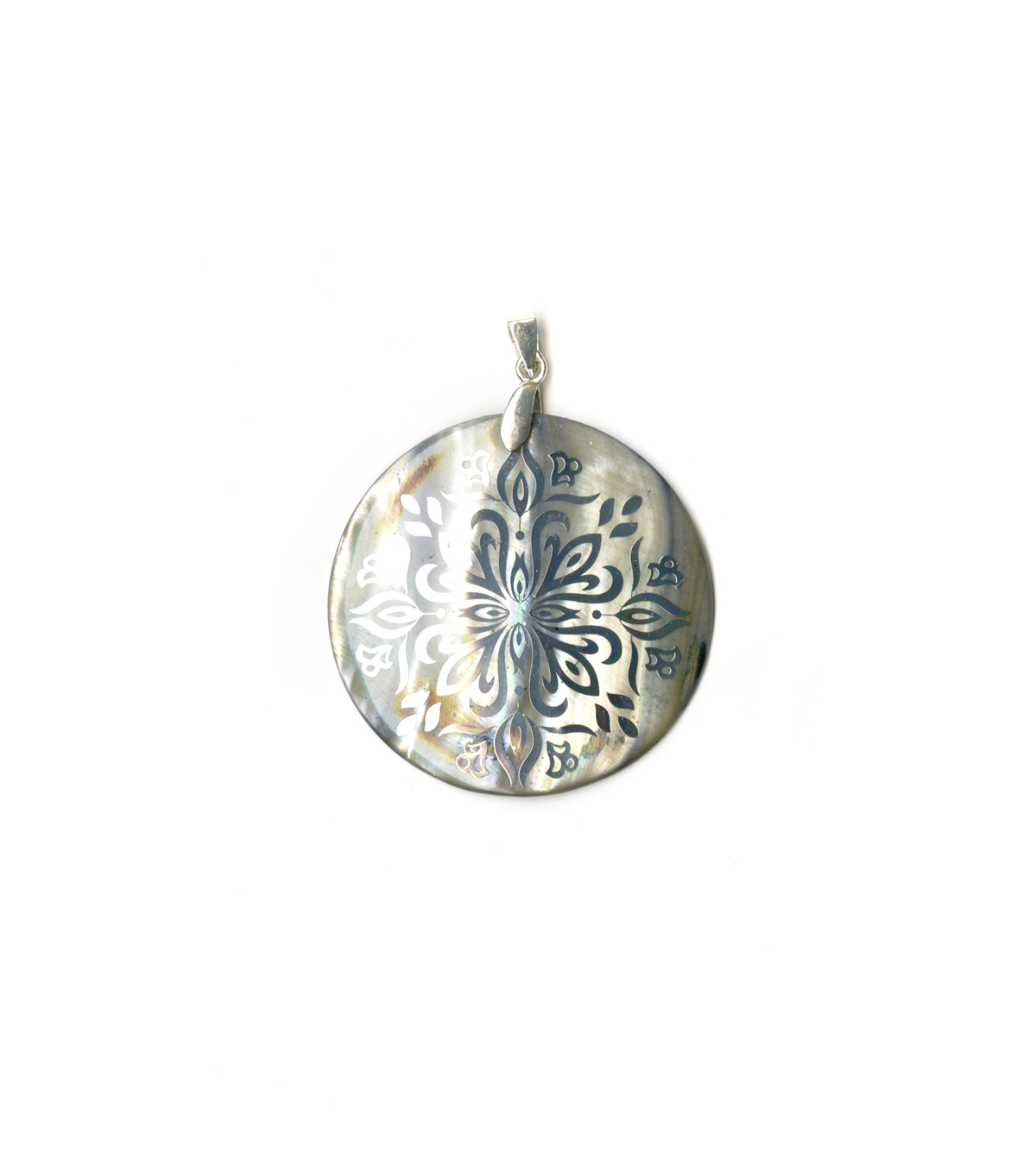 Blue Moon Beads Shell Pendant 50mmRound, Silver, Smoke