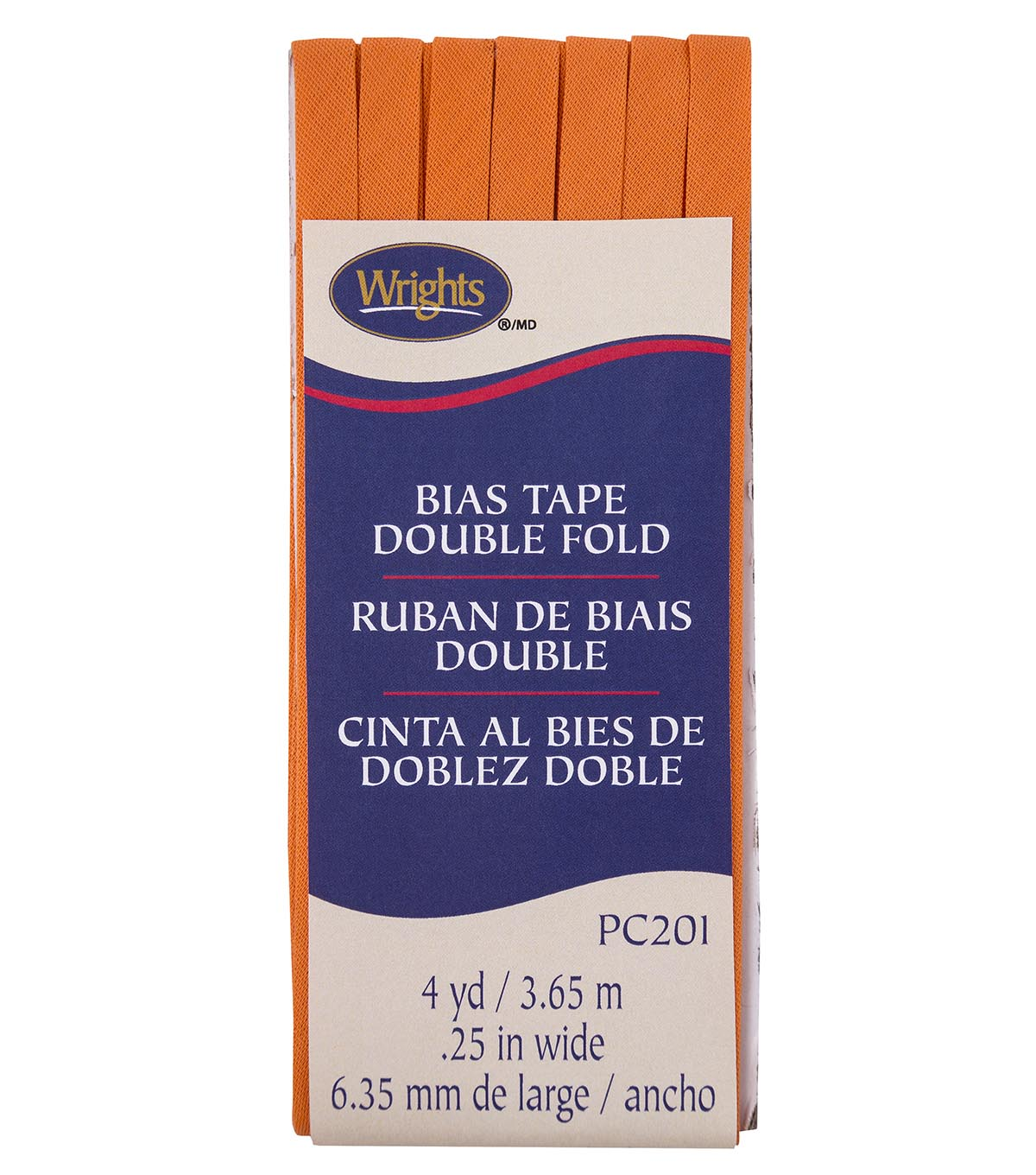 Wrights Double Fold Bias Tape 1/4\u0027\u0027x4 yds-Orange Peel