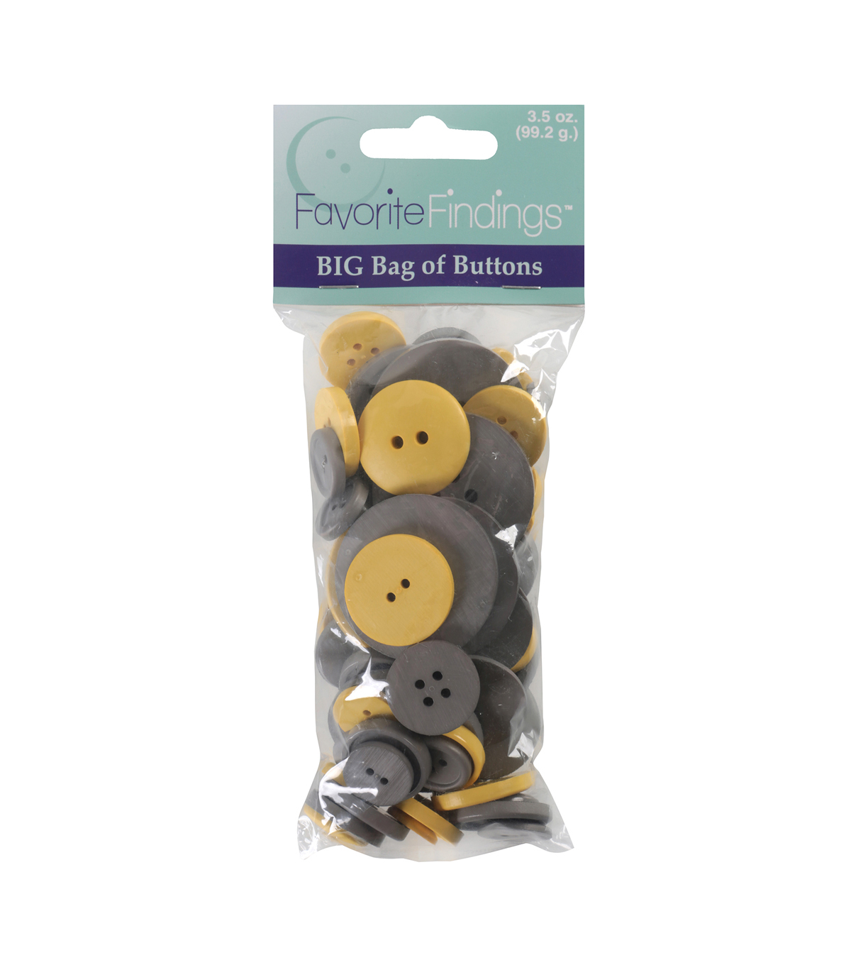 Favorite Findings  3.5 oz. Value Pack Buttons-Gray & Yellow