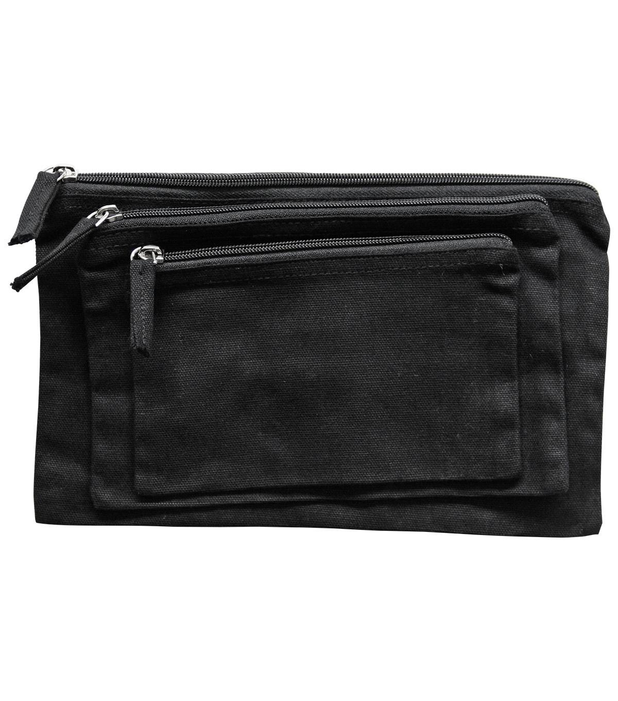 Canvas Zipper Pouch Bags Black
