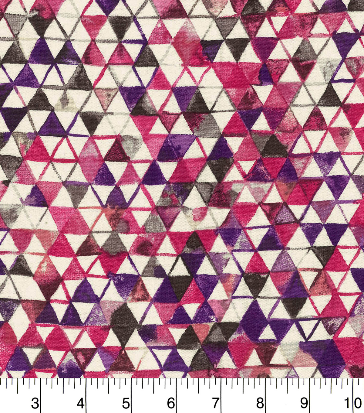 Premium Wide Cotton Fabric-Burgundy & Purple Watercolor Triangles
