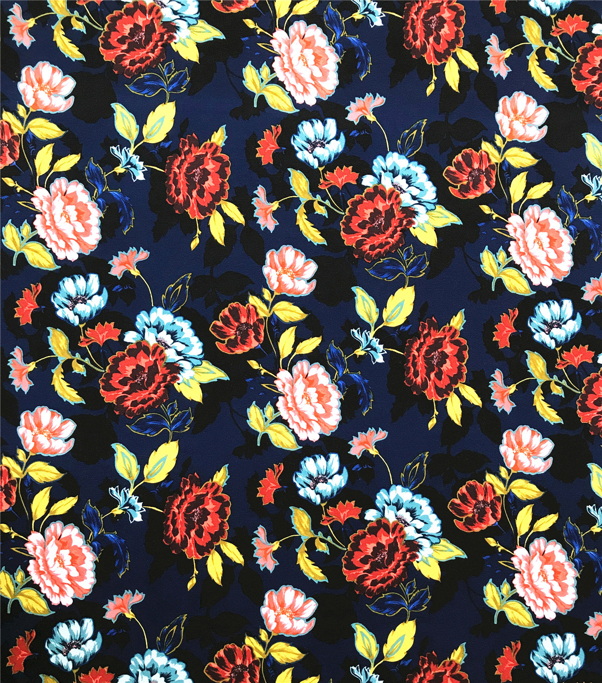 Ember Knit Prints Double Brushed Fabric-Navy Multi Floral