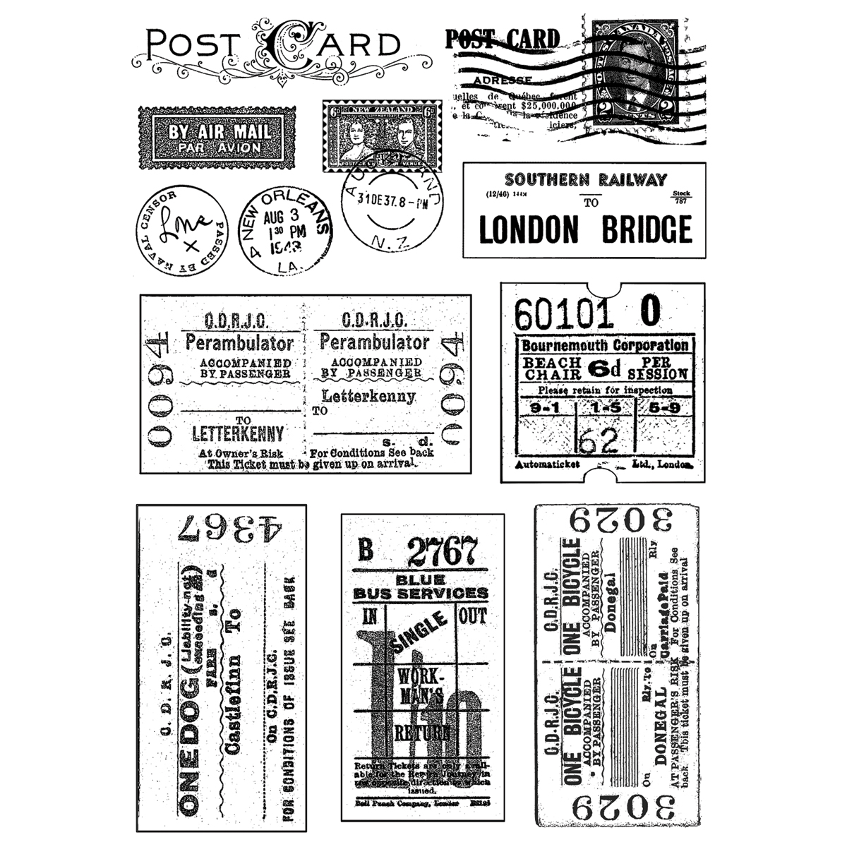 Crafty Individuals Unmounted Rubber Stamp-Vintage Tickets & Postmarks