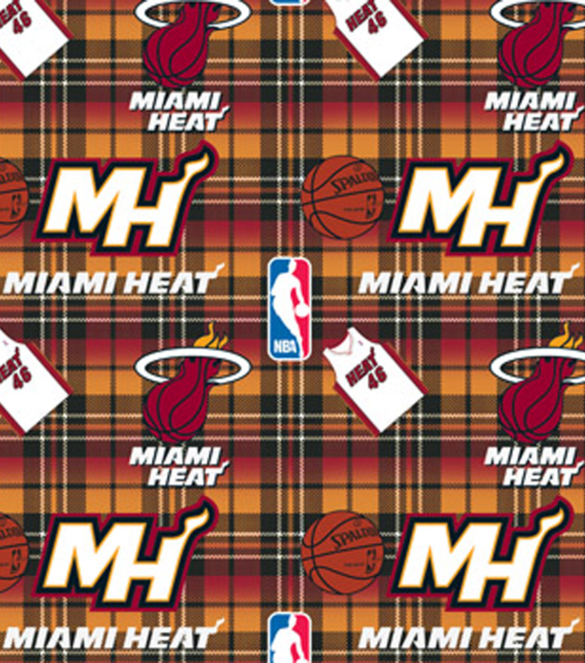 Miami Heat Fleece Fabric -Plaid