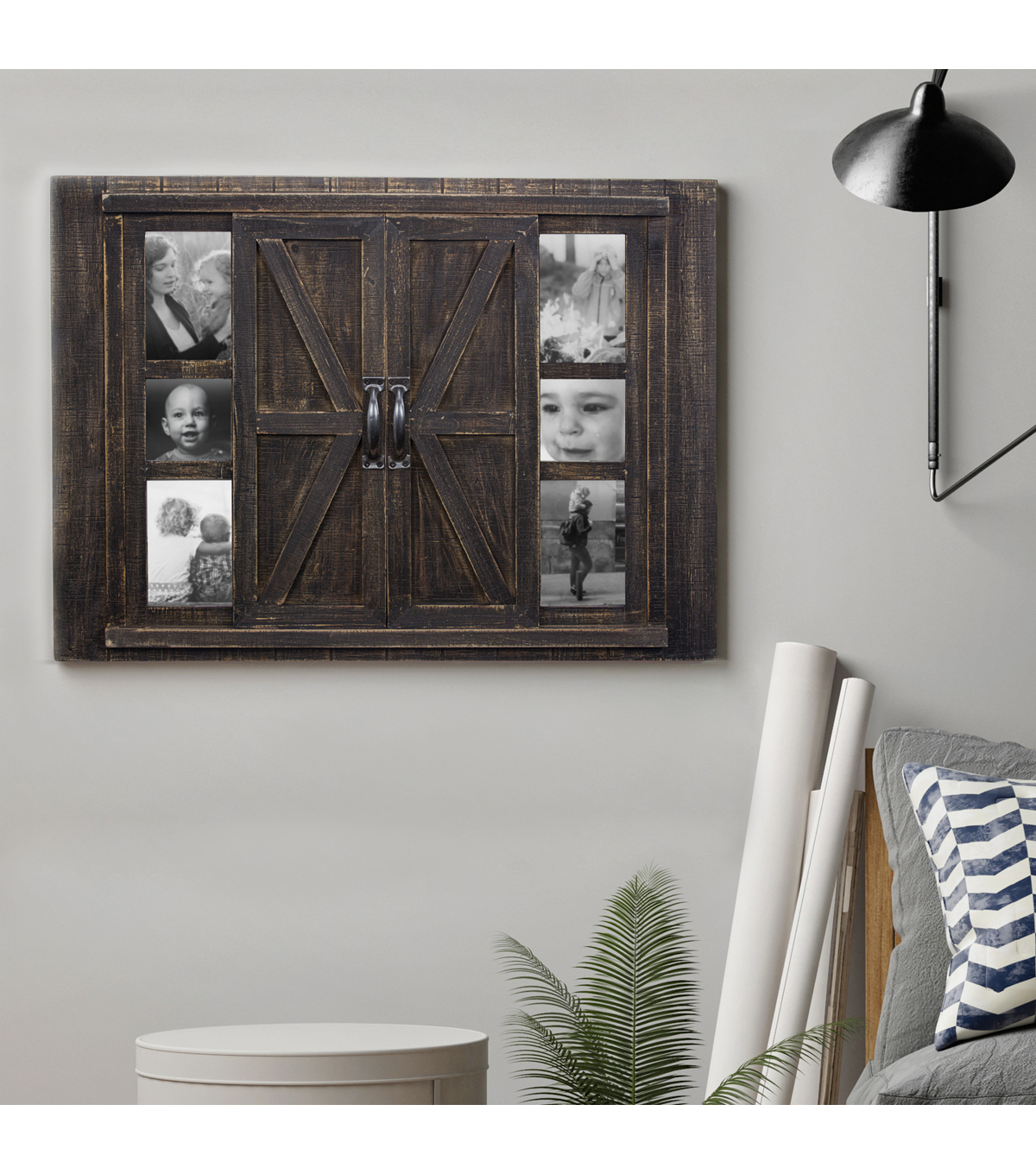 Furniture Finds Rustic Barn Door Picture Frame with Mirror