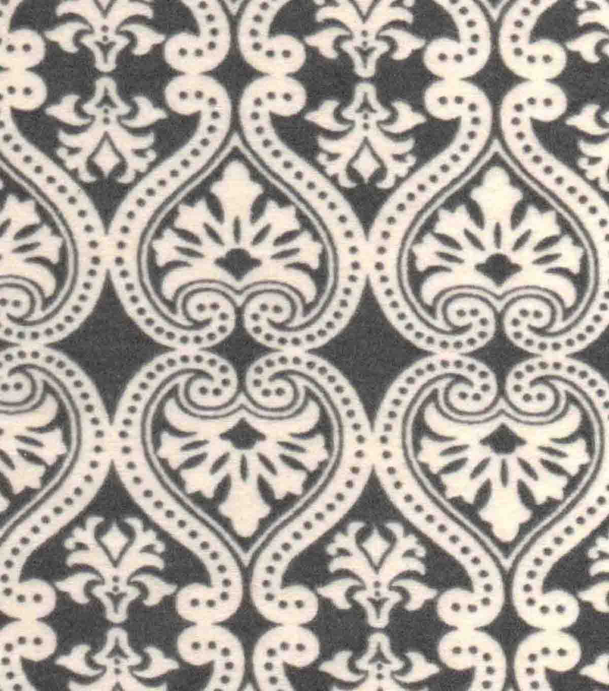 Snuggle Flannel Fabric -Damask Grey