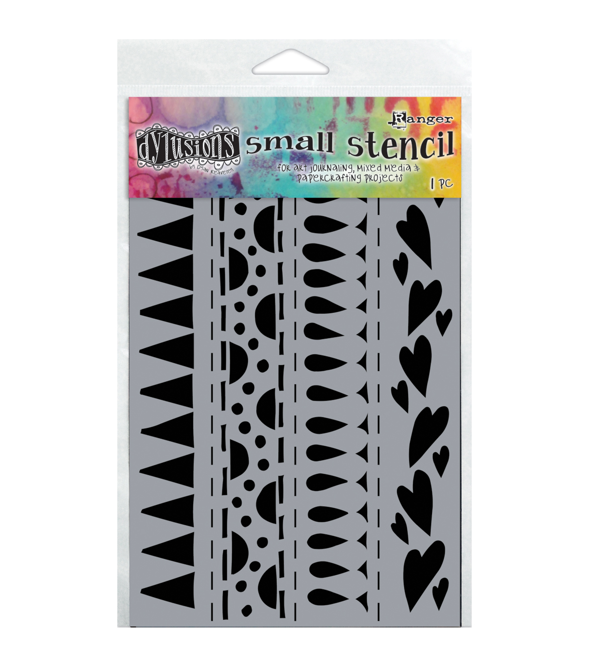 Ranger Dylusions Dyan Reaveley Small Stencil-Heart Border