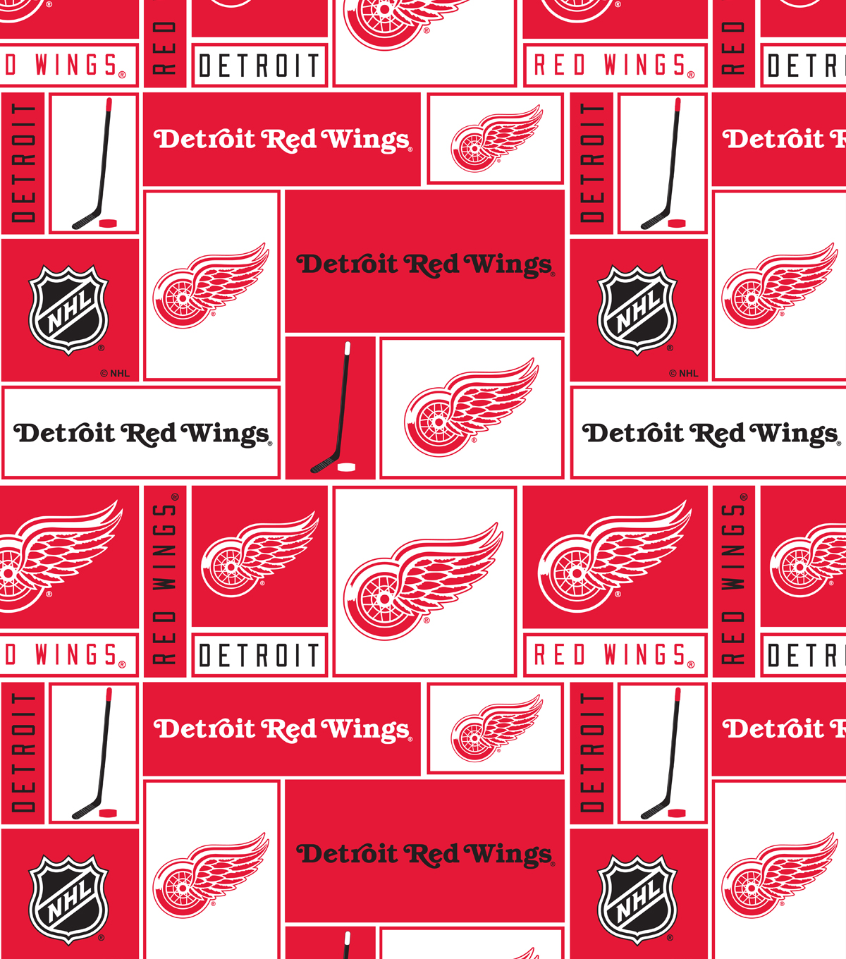 Detroit Red Wings Cotton Fabric Block