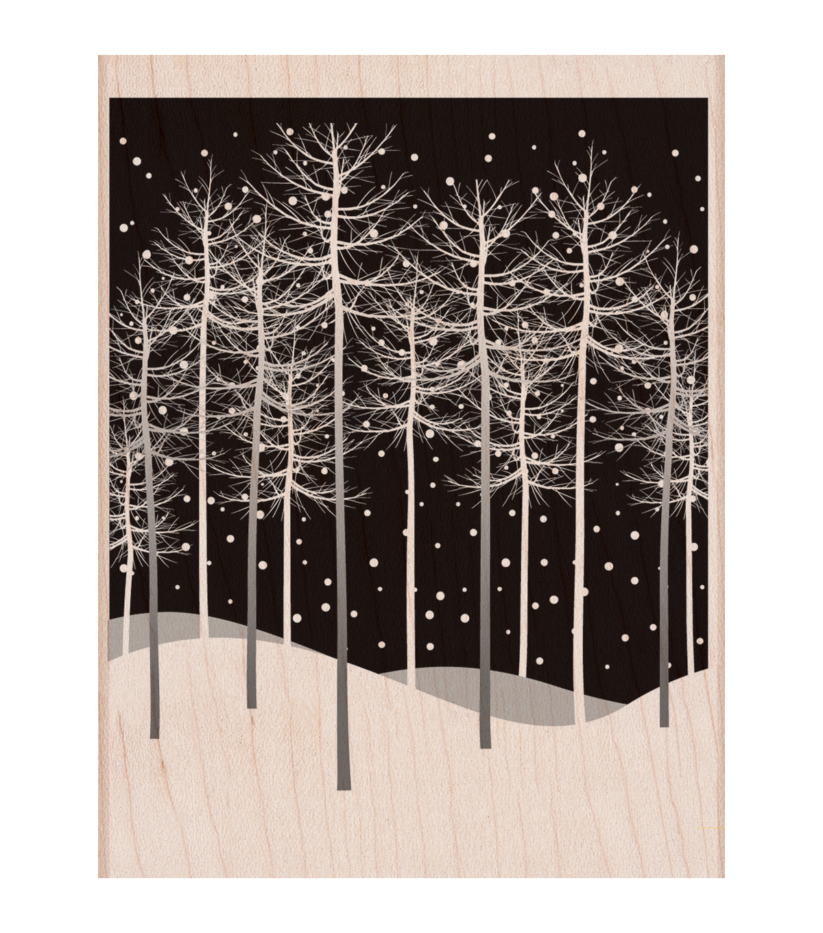 Hero Arts Wood Mounted Rubber Stamp-Winter Trees Scene