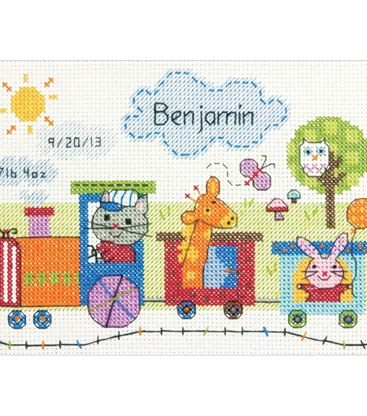Train Birth Record Counted Cross Stitch Kit-7\u0022X5\u0022 14 Count
