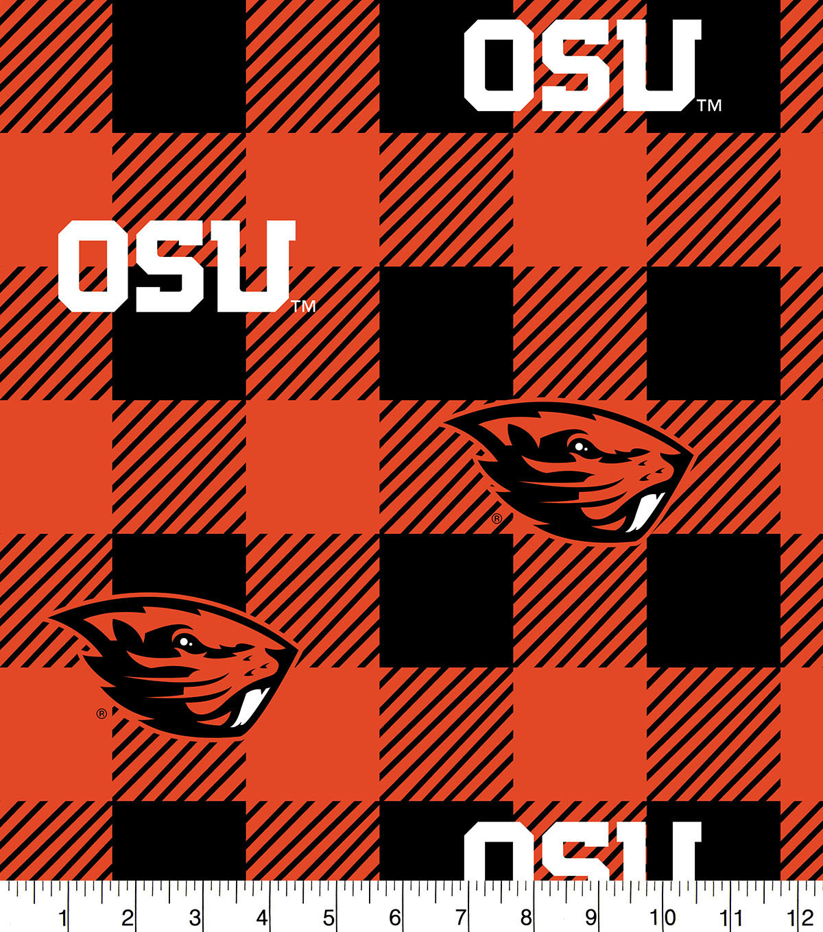 Oregon State Beavers Fleece Fabric-Buffalo Plaid