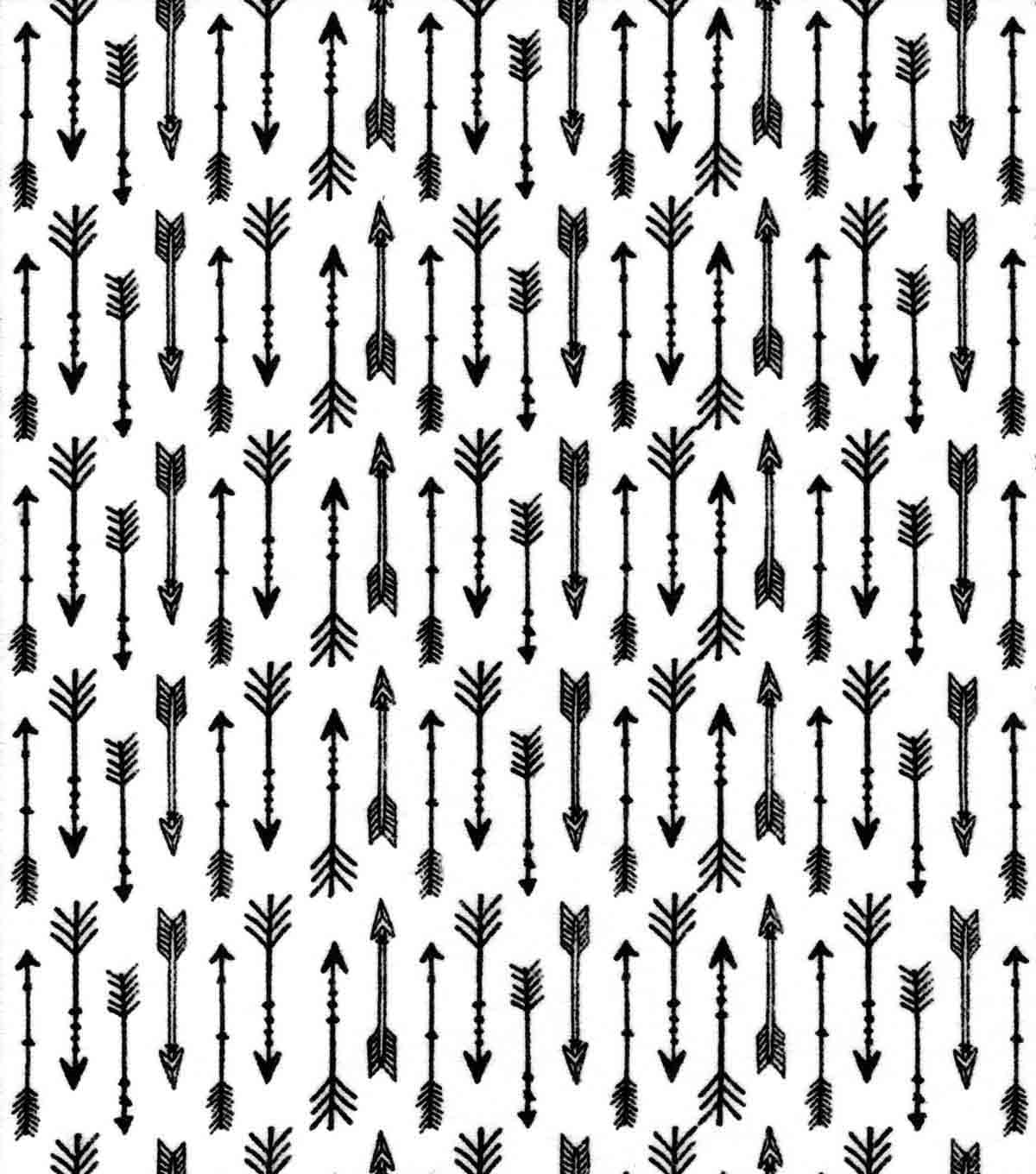Nursery Flannel Fabric 42\u0027\u0027-Black Arrows on White