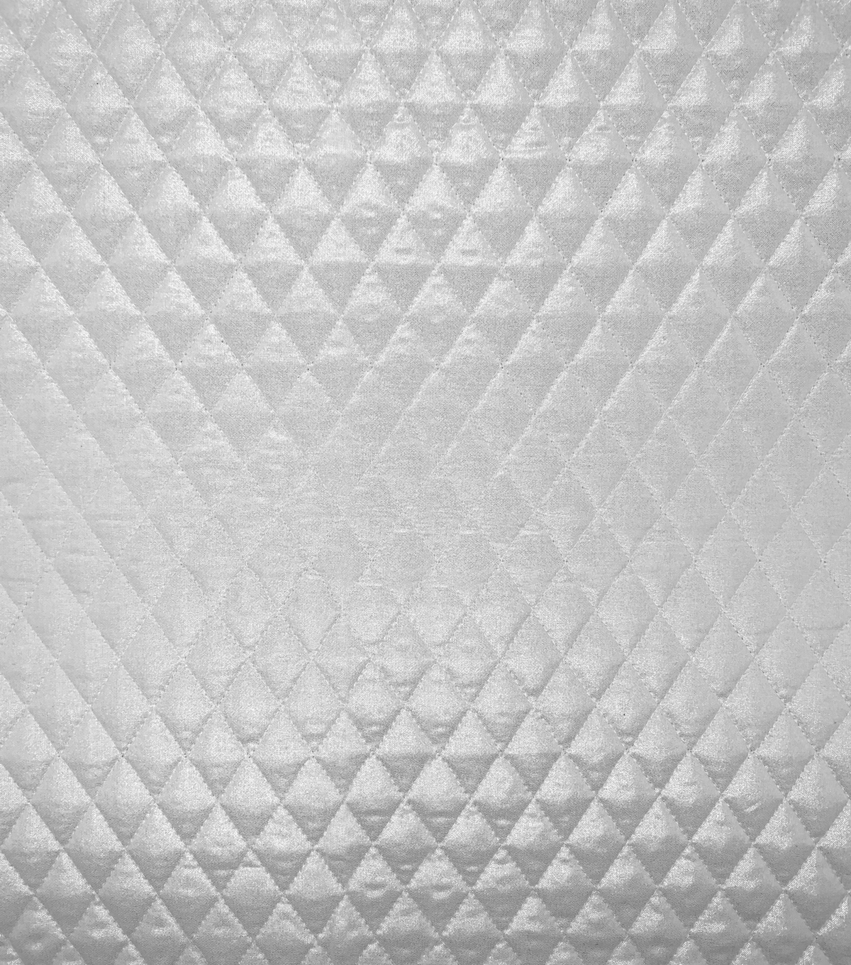Double Faced Pre-Quilted Cotton Fabric -Diamond Solids, Foil Silver
