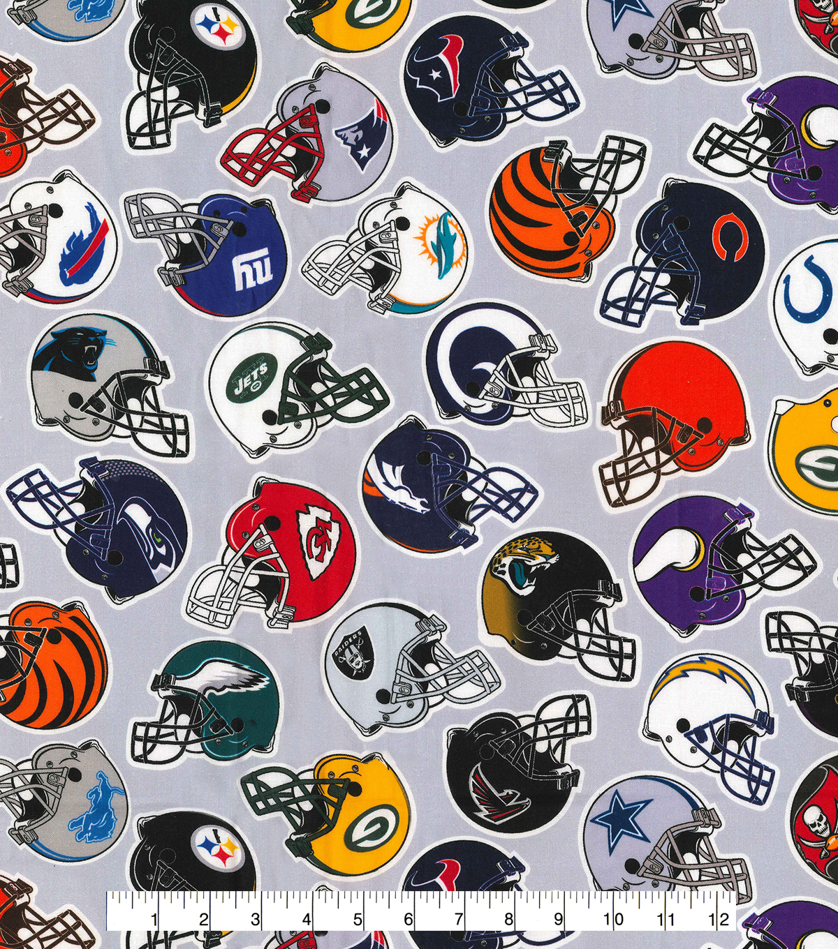 All Team Cotton Fabric -Tossed Helmets on Gray