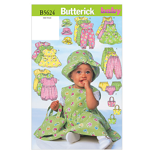 Butterick Pattern B5624 Infants\u0027 Casual Outfits-Size NB-S-M