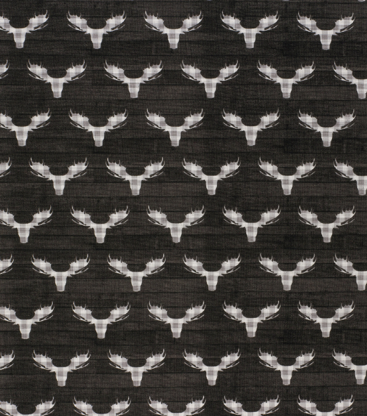 Novelty Cotton Fabric-Check Moose Head on Black Wood