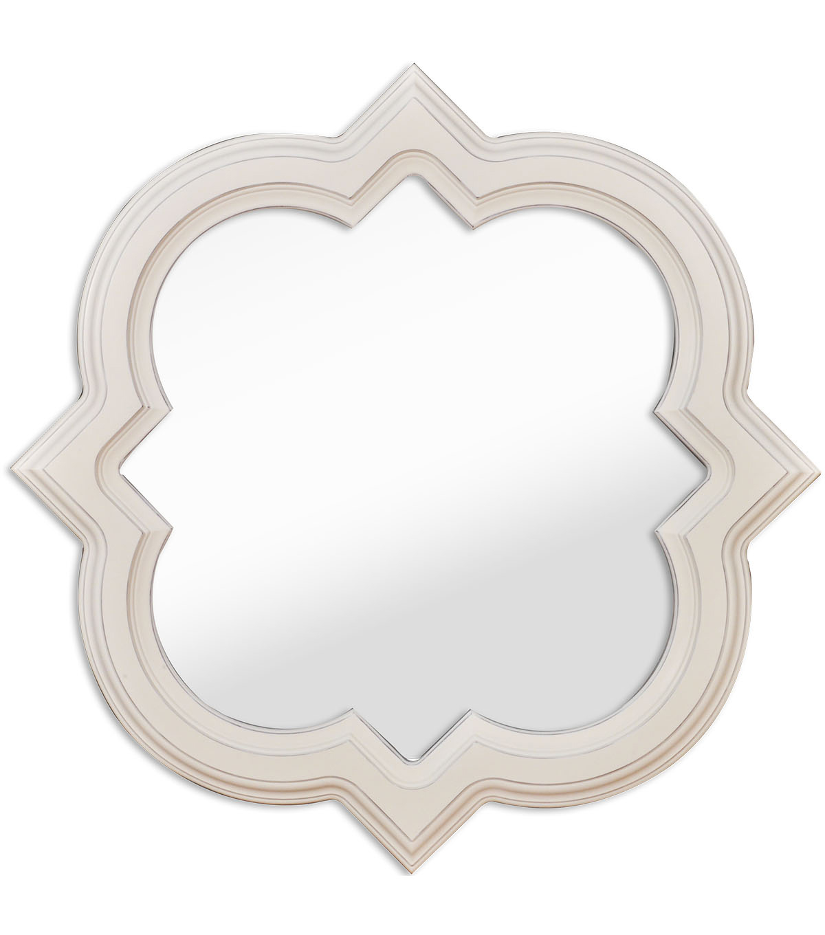 Mirror-Shabby White Quartrefoil