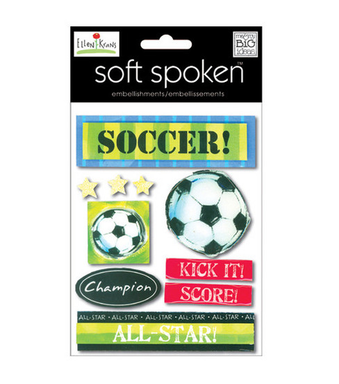 Soft Spoken Themed Embellishments-Soccer