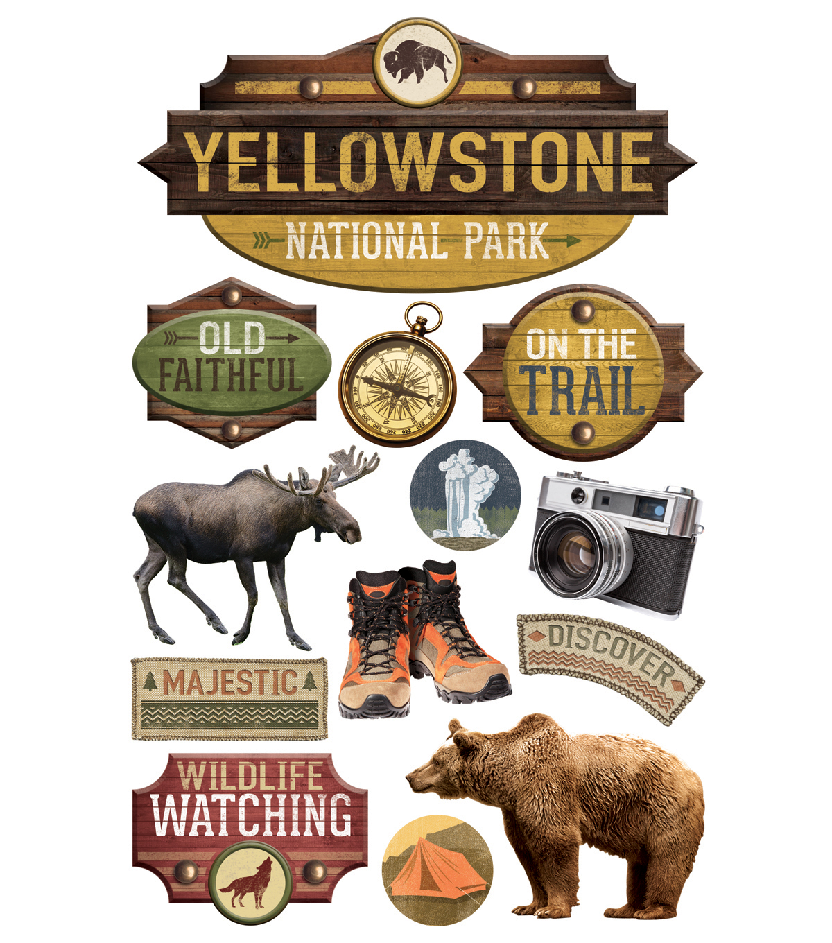 Paper House 4.5\u0027\u0027x8.5\u0027\u0027 3D Stickers-Yellowstone National Park