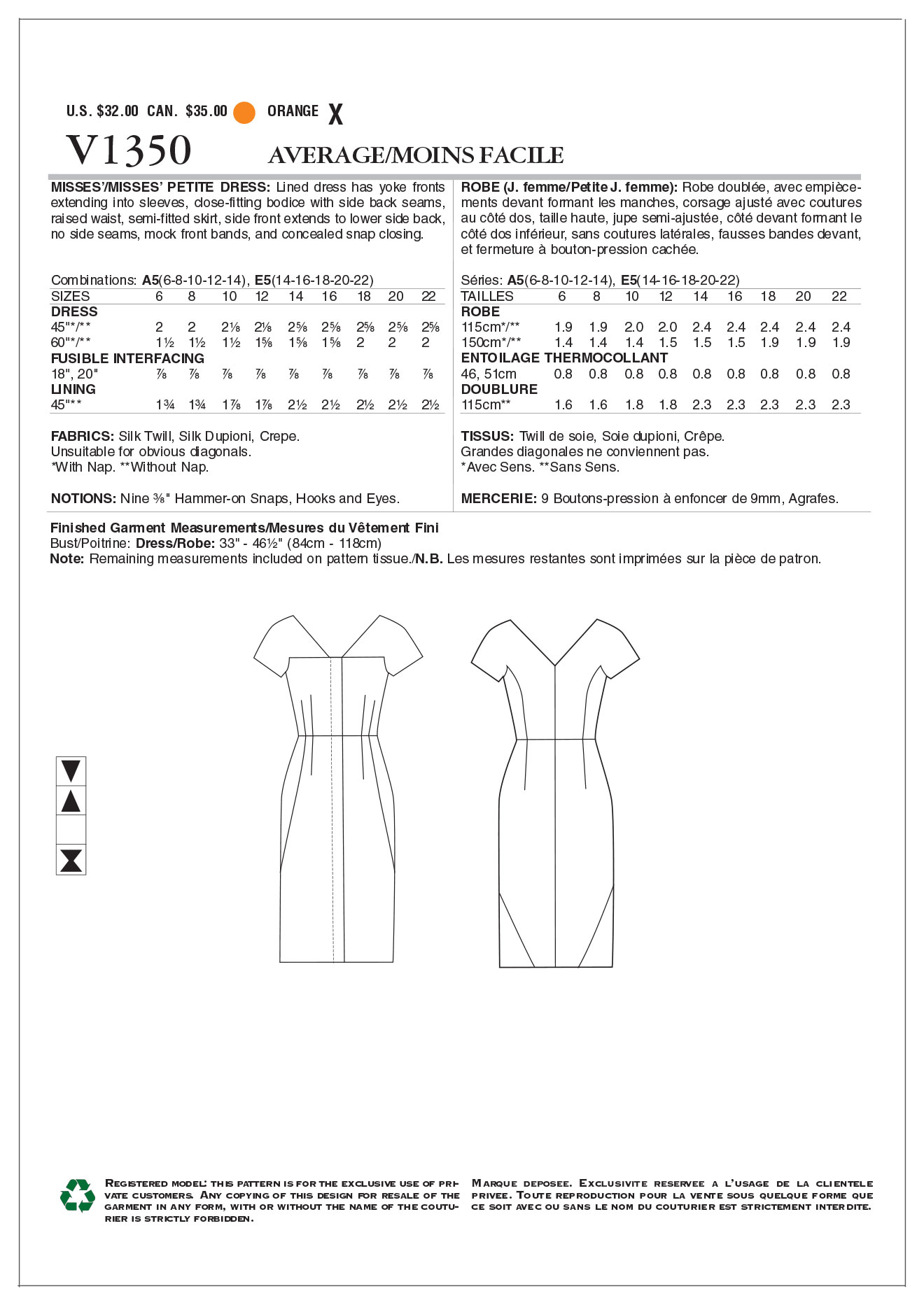 Vogue Patterns Misses Dress-V1350