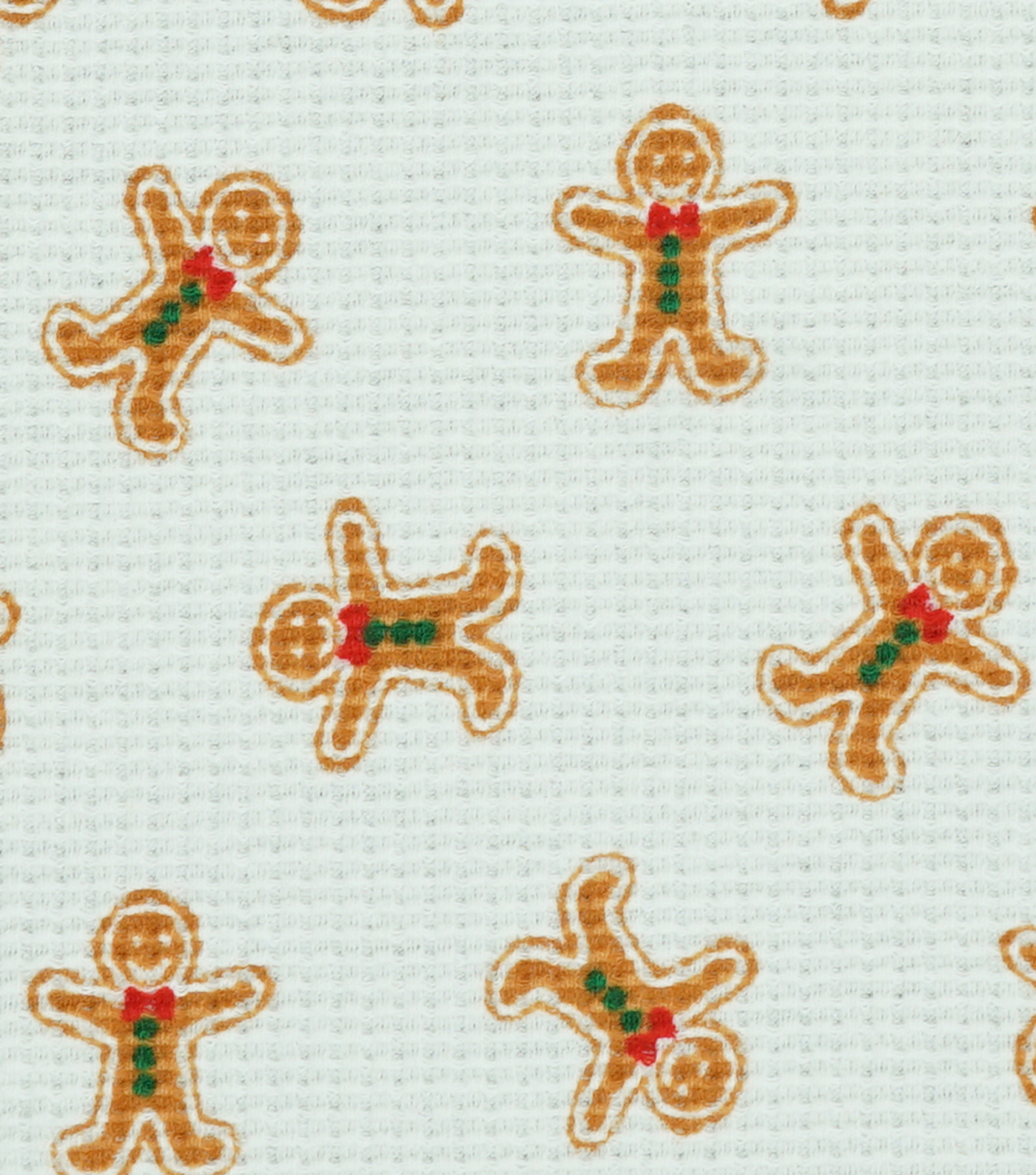 Doodles Christmas Interlock Cotton Fabric -Gingerbread Men Waffle