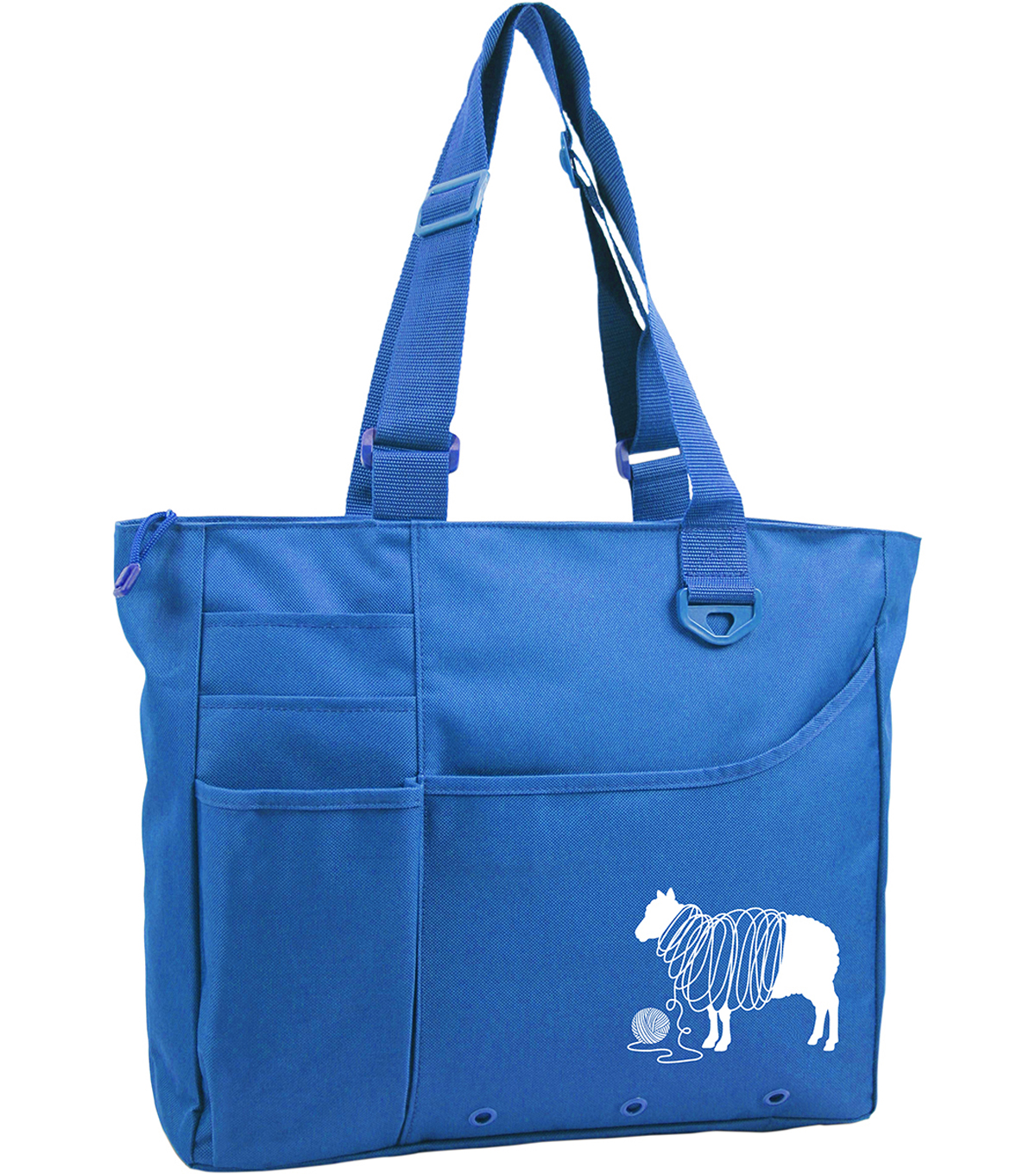 Knit Happy Unwound Sheep Bright Bag 15\u0022X13\u0022X4\u0022-Blue