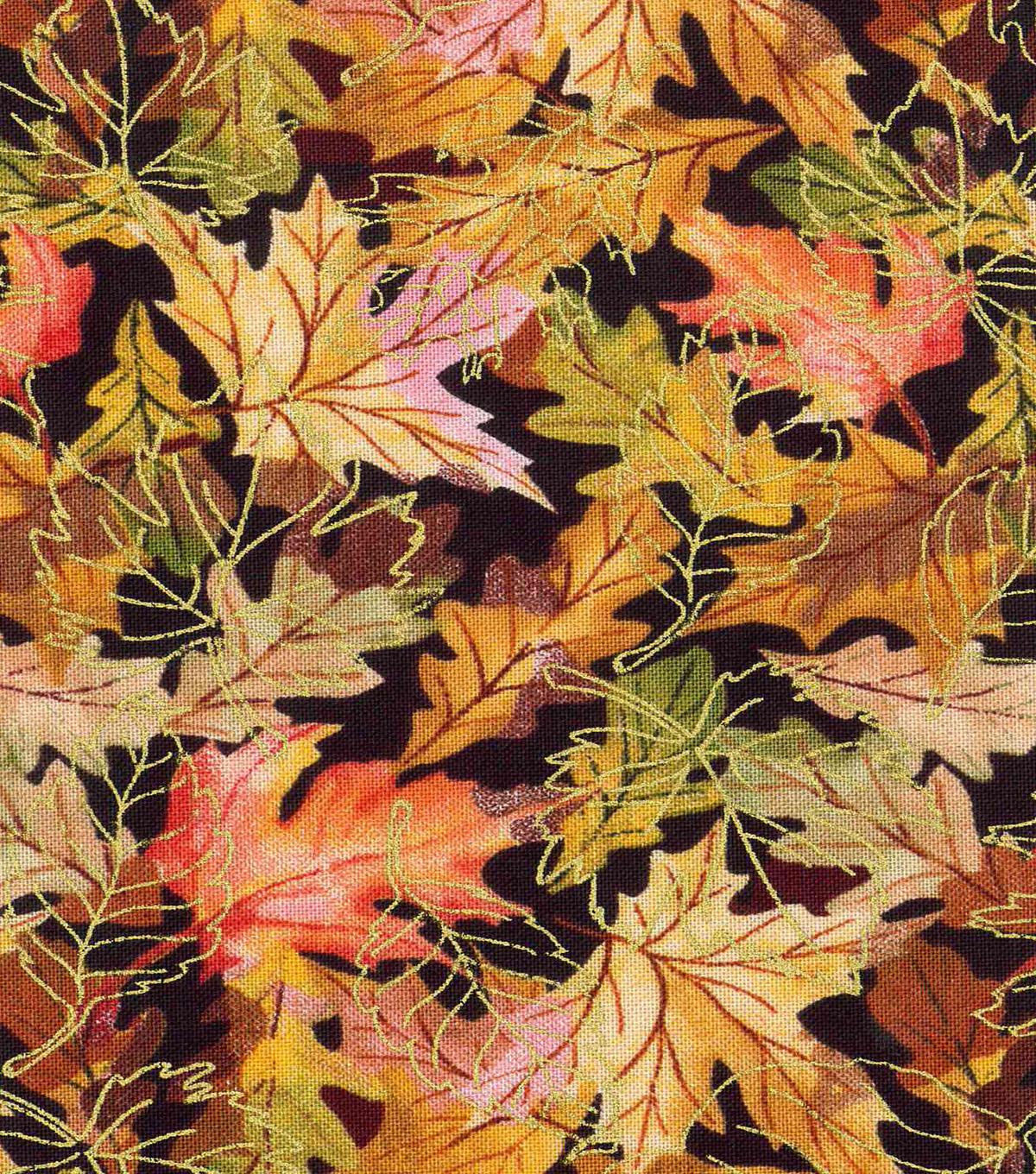 Harvest Cotton Fabric-Packed Fall Leaves