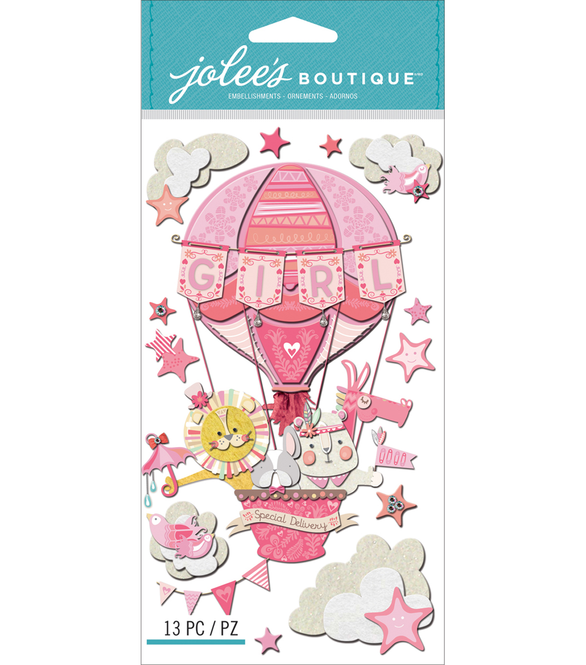 Jolee\u0027s Boutique Dimensional Stickers-Baby Girl - Special Delivery