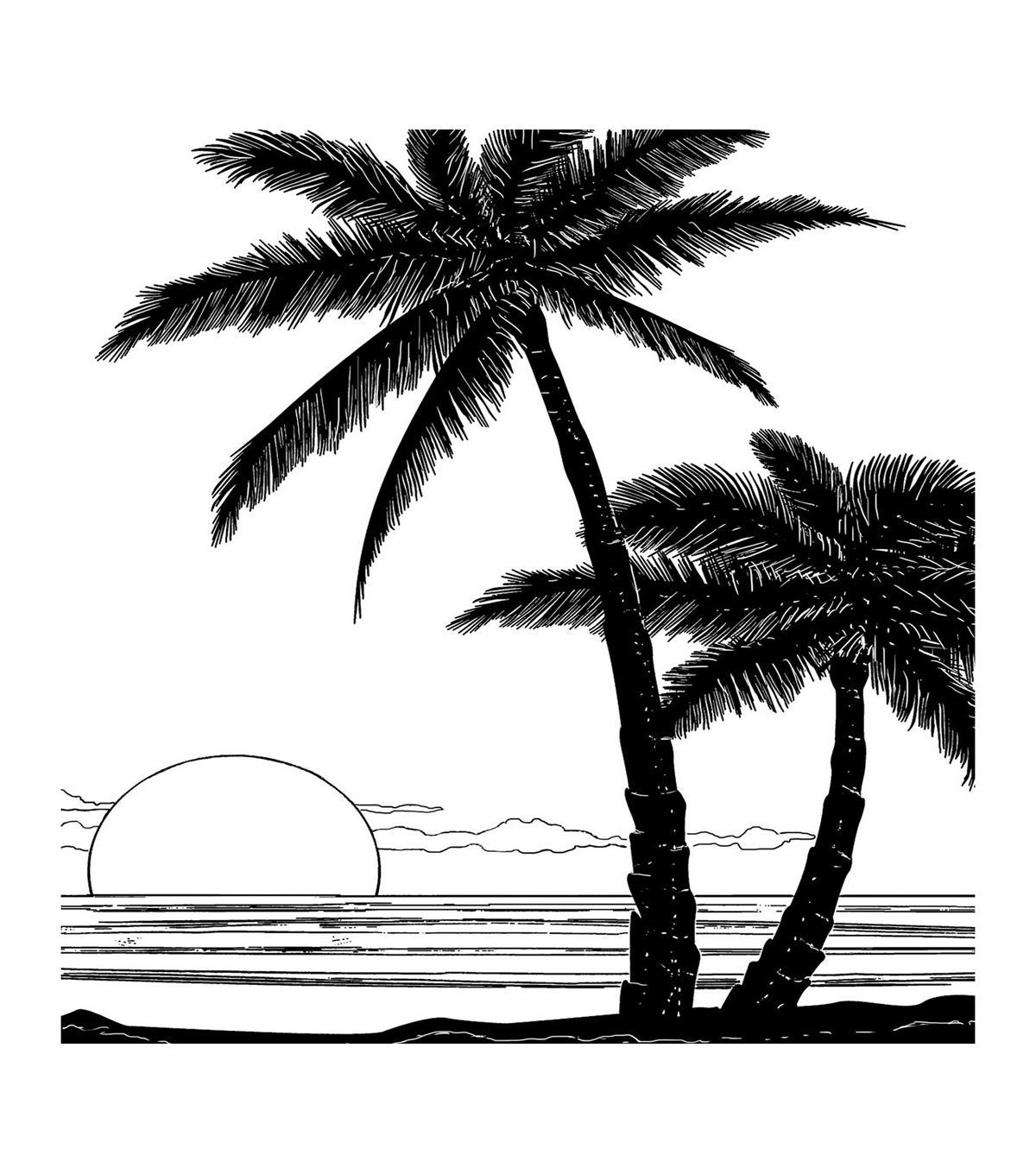 Crafty Individuals Unmounted Red Rubber Stamp-Tropical Sunset