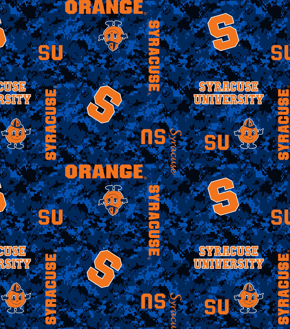 Syracuse University Orange Fleece Fabric 60\u0022-Digital