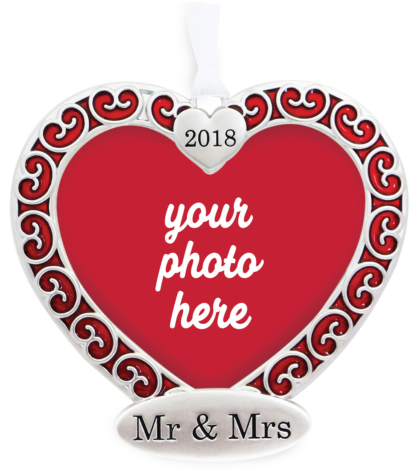 Maker\u0027s Holiday Christmas Heart Frame Ornament-Mr & Mrs