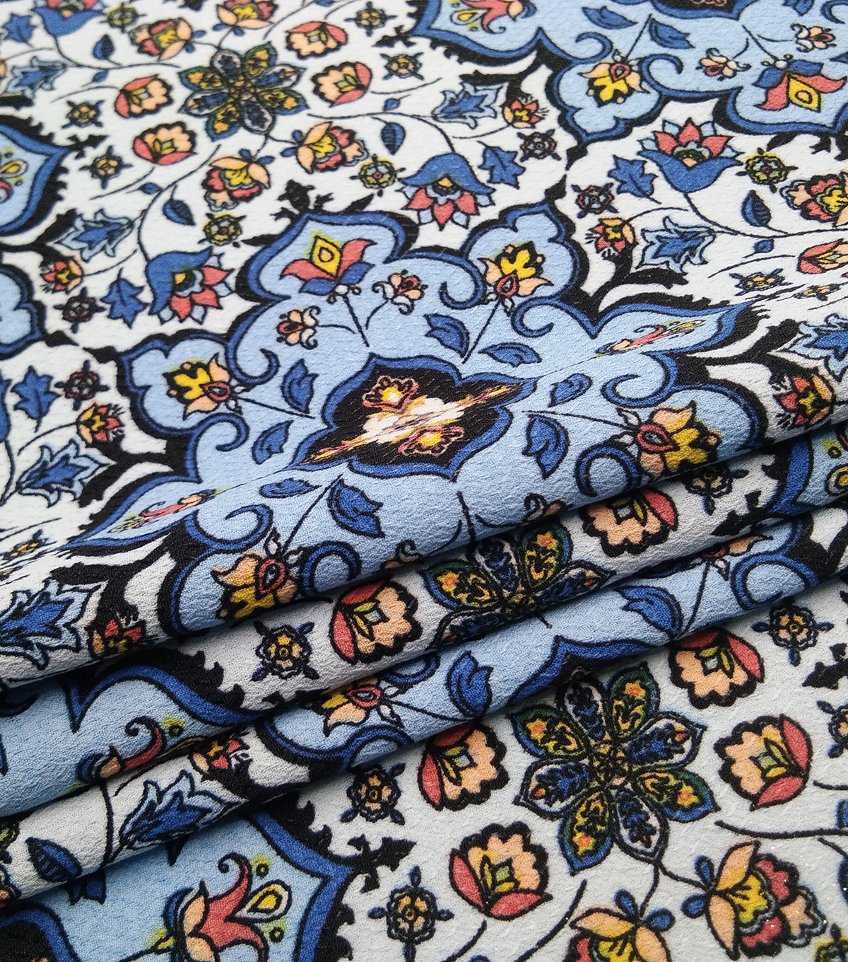 Downtown Collective Crepe Fabric 57\u0022-Blue Boho Medallions