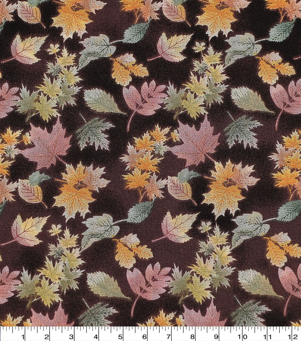 Harvest Cotton Fabric-Brown Watercolor Mini Leaves