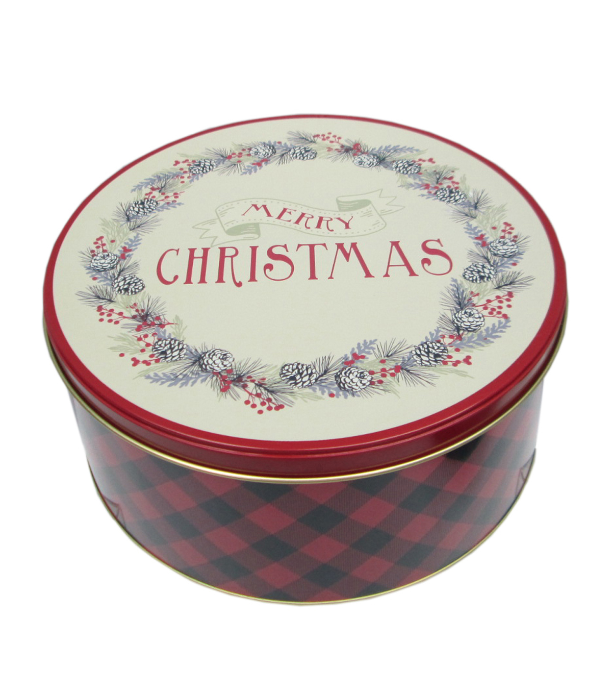 Maker\u0027s Holiday Large Round Cookie Tin-Merry Christmas