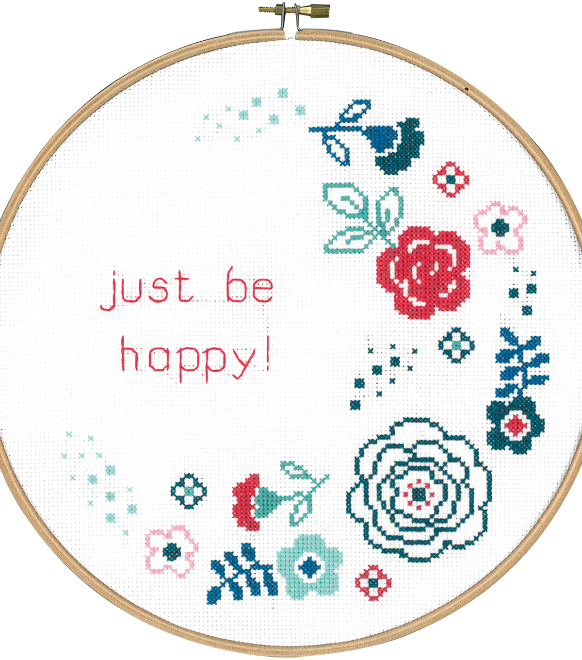 Vervaco 9.6\u0027\u0027 Round Counted Cross Stitch Kit-Modern Flowers & Be Happy!