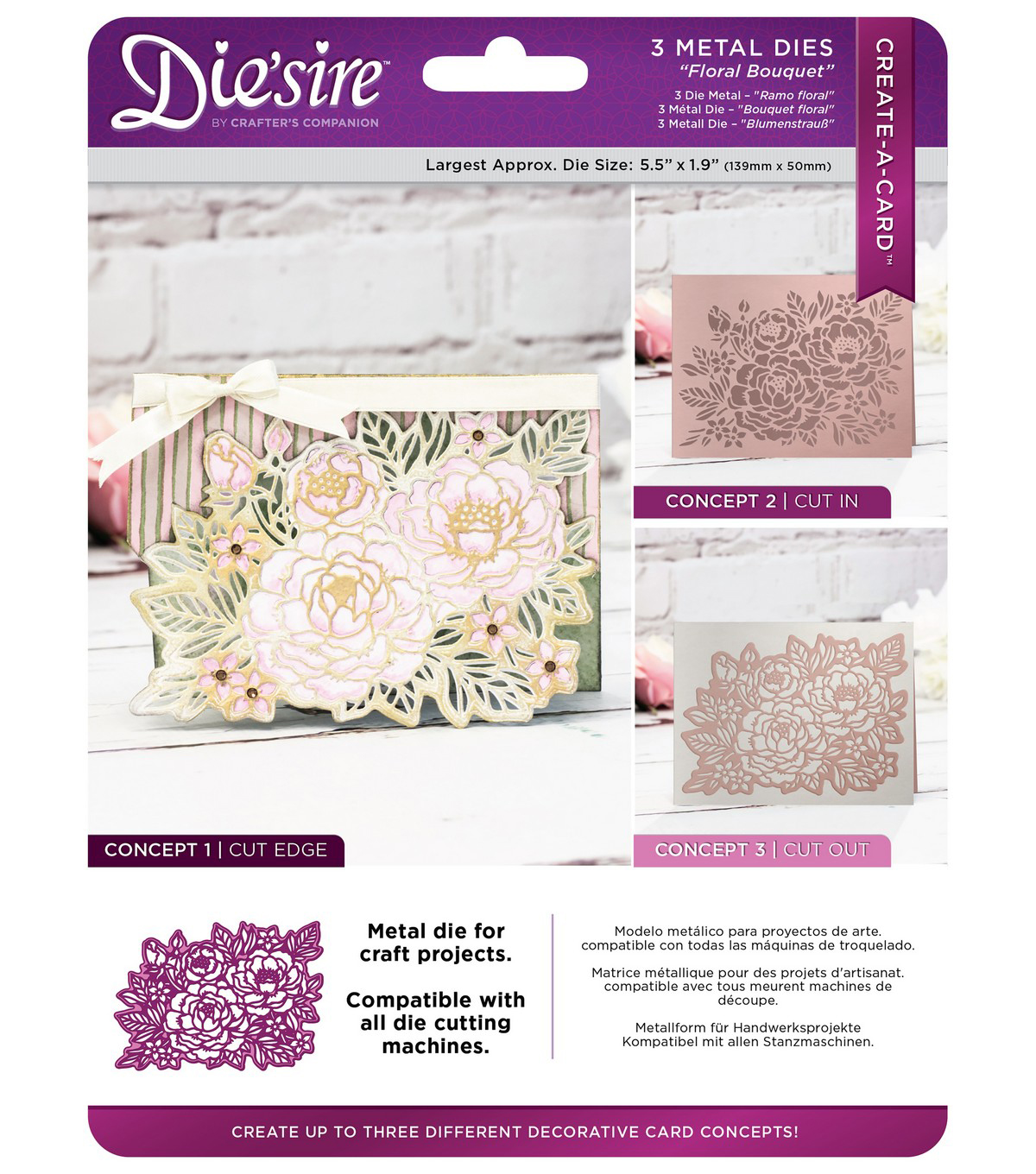 Die\u0027sire Create-A-Card 3 pk Metal Dies-Floral Bouquet