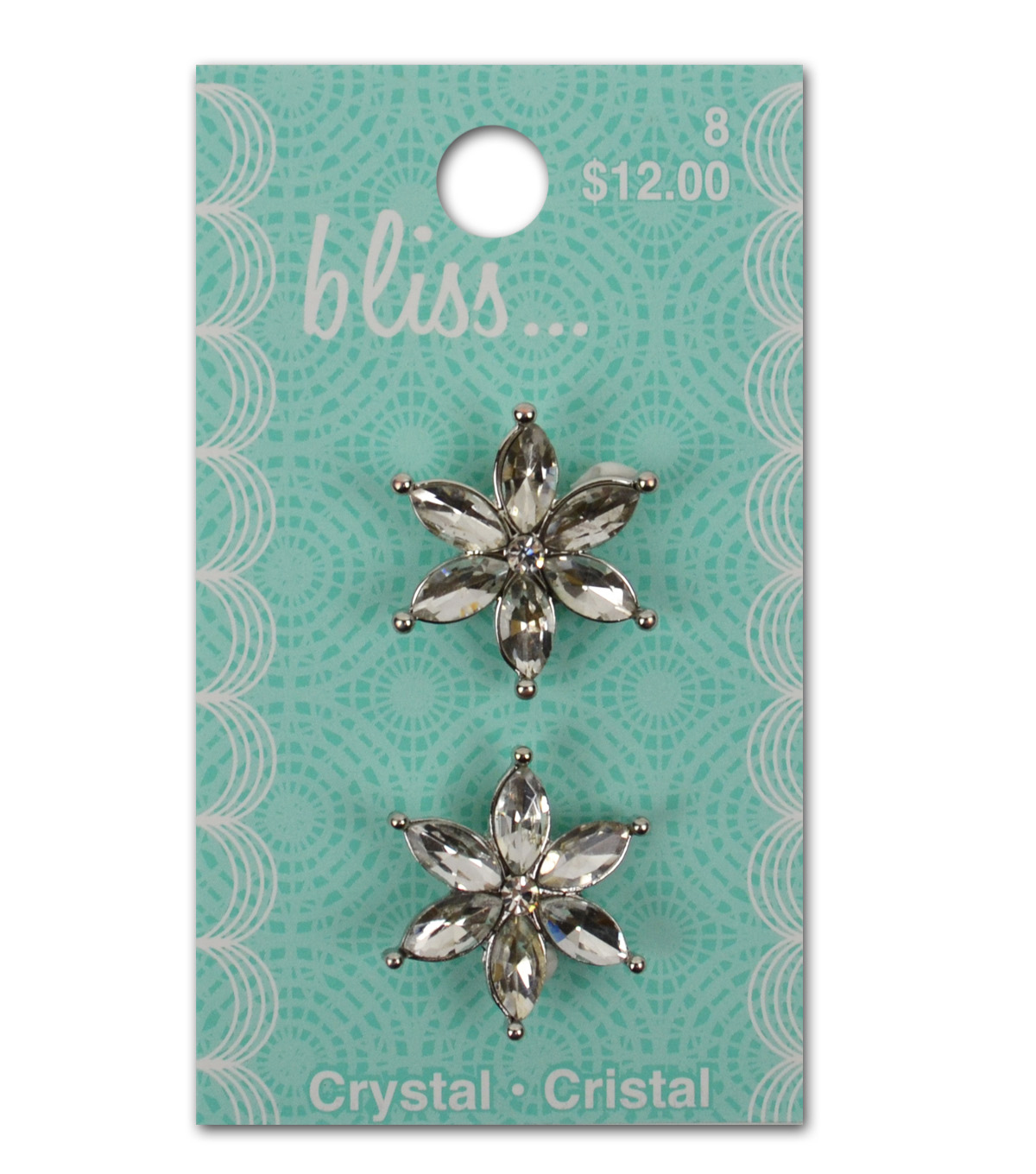 Bliss Crystal Petals Button