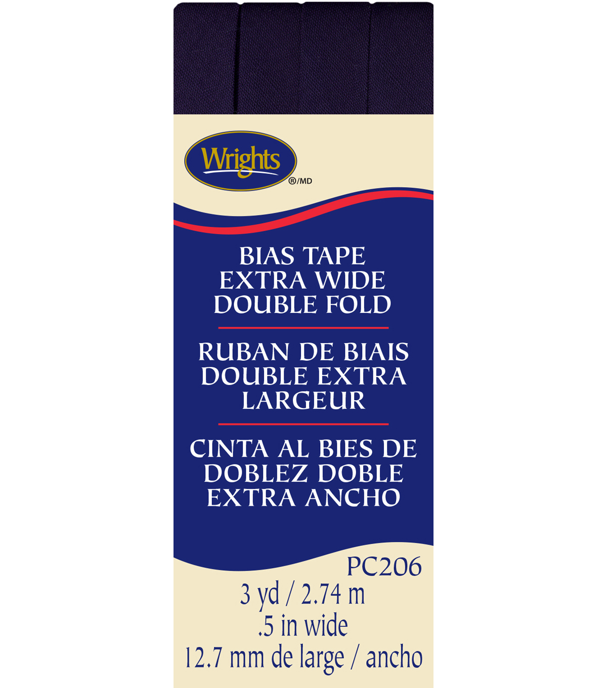 Wrights Extra Wide Double Fold Bias Tape, Blackberry